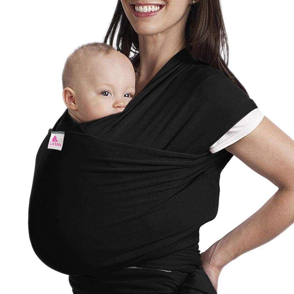 Lictin Baby Wrap-Baby Carrier Adjustable Breastfeeding Cover Cotton Sling Baby Carrier for Infants up to 35 lbs/16kg, Soft and Comfortable to Use CE Certification with Storage Bag (Black)