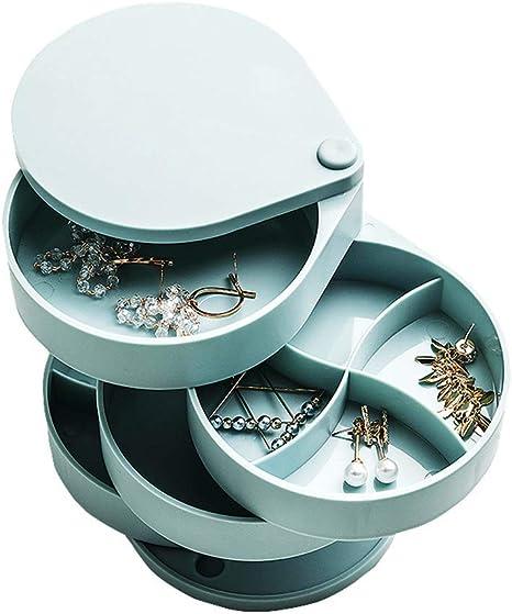 4 Tier Rotating Jewellery Box Earring Rings Desktop Storage Organiser Box White