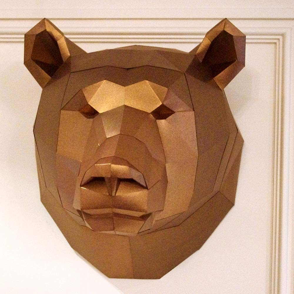 MYRCLZZ DIY Handmade Bear Head Origami Wall Hanging 3D Three-Dimensional Paper Crafts, Suitable for Christmas Party Halloween Gold Home Decoration by MYRCLZZ