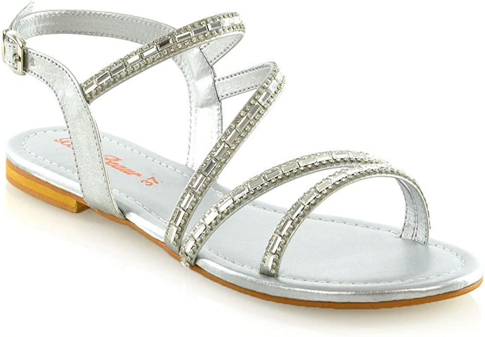 ESSEX GLAM Womens Sandals Embellished
