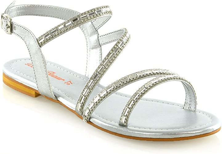 Womens Strappy Flat Sandals Ladies T