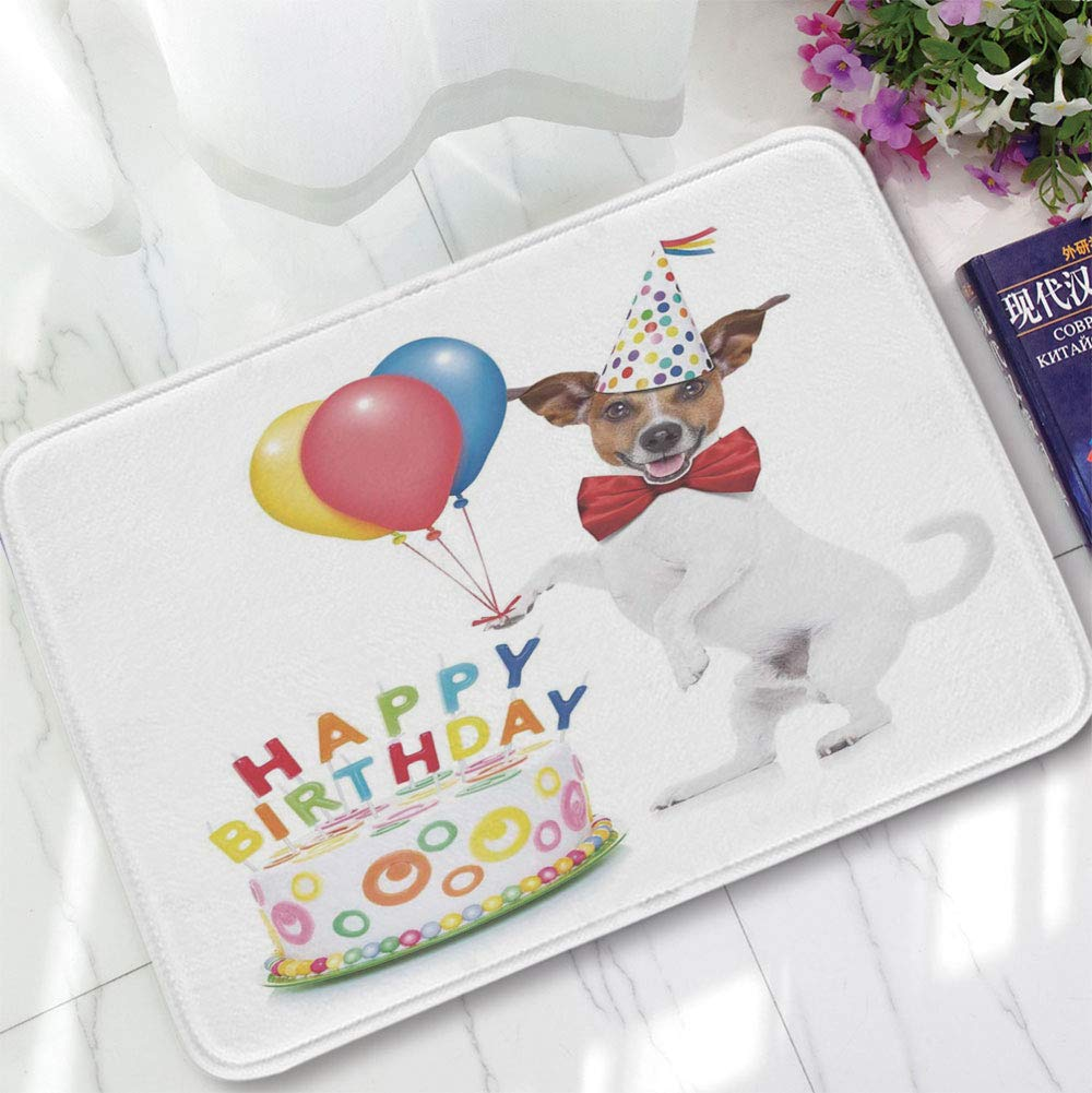 YOLIYANA Water Absorption Non-Slip Mat,Birthday Decorations for Kids,for Corridor Study Room Bathroom,15.75''x23.62'',Dancing Party Dog with Cake and