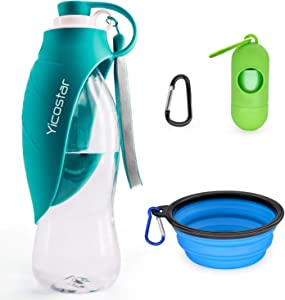 Yicostar Dog Water Bottle for Dogs, 20 Oz Pet Water Bottle with Collapsible Dog Bowl and Dog Waste Bags Dispenser, Dog Travel Water Bottles, Portable Pet Water Dispenser for Traveling, Walking