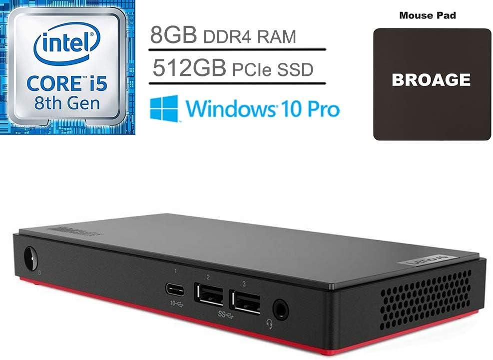 Lenovo ThinkCentre M90n Business Mini Desktop Computer, Intel Quad-Core i5-8265U up to 3.9GHz (Beats i7-7500U), 8GB DDR4 RAM, 512GB PCIe SSD, AC WiFi, Bluetooth 5.0, Windows 10 Pro, BROAGE Mouse Pad