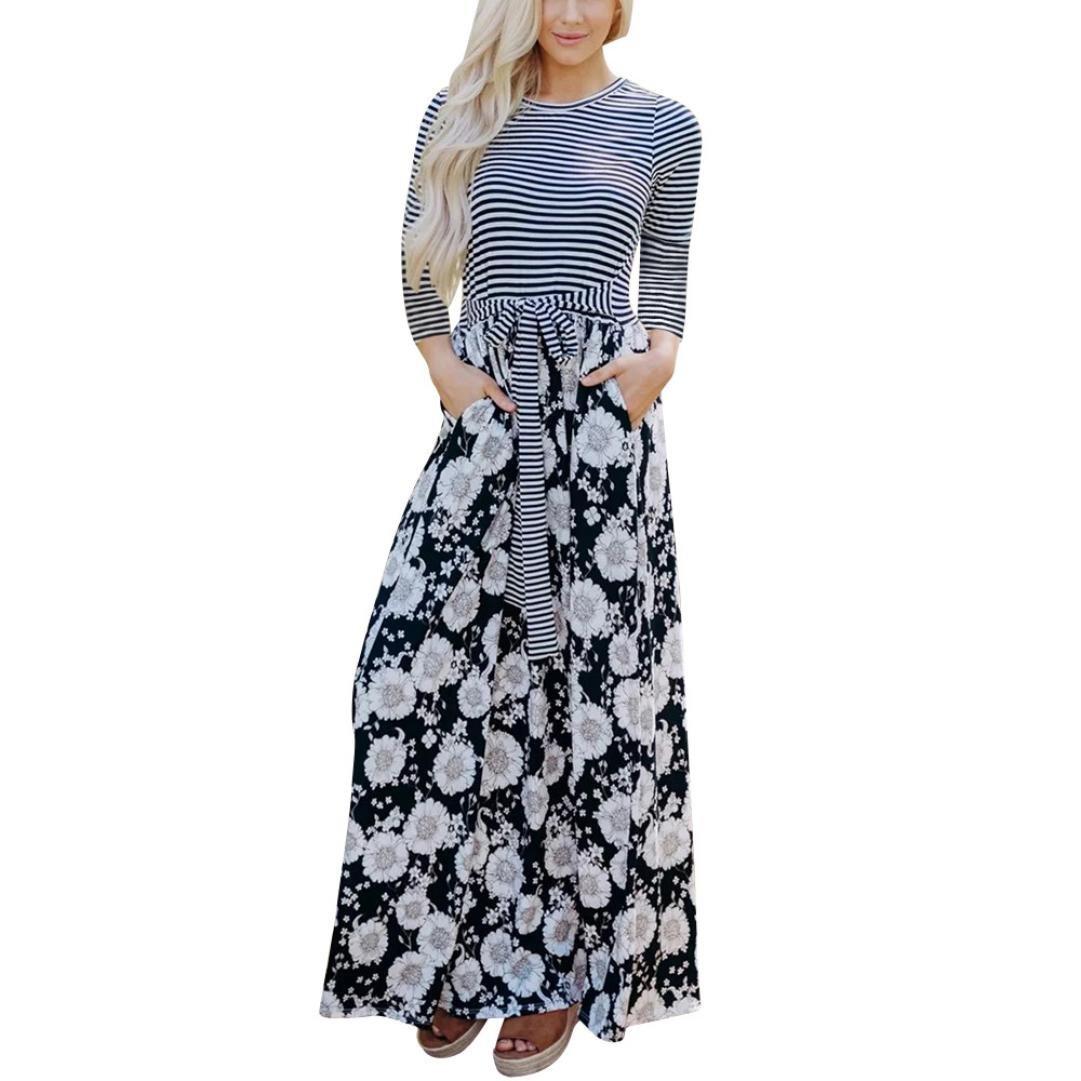 Damen Rundhals Kleid Minikleid Streifen Sommer Strand Party Abend Maxikleider