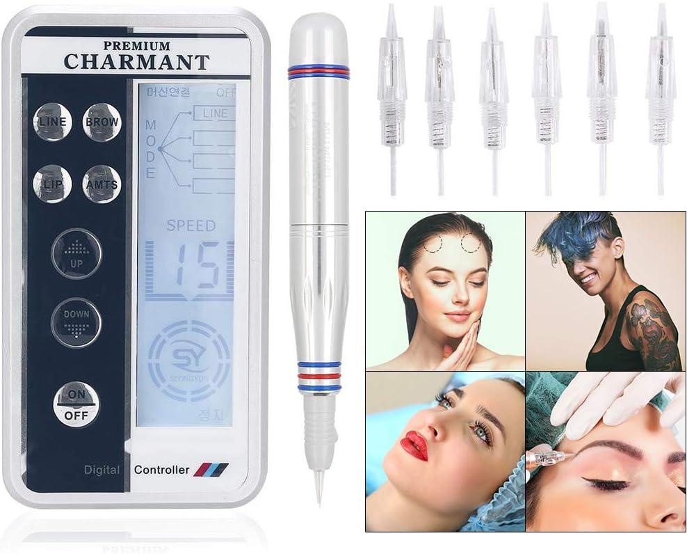 Tatuaje de cejas semi permanente del maquillaje de la pluma de la máquina del tatuaje belleza de labios Eyeliner de la ceja con 6 agujas (UE)