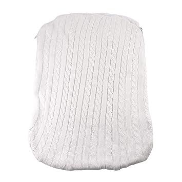 LANDUM Bebé Engrosamiento Swaddle Infantil Saco de Dormir de Punto Cochecito con Cremallera Diseño Saco de Dormir - Blanco: Amazon.es: Hogar