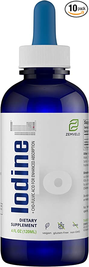 Liquid Ionic Iodine Supplement Drops | Thyroid, Healthy Weight, Energy & Metabolic Support | 4 oz - 150 Day Supply
