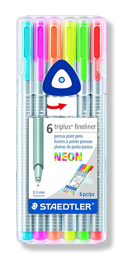 Amazon.com  Staedtler 10014318 Fineliner Drawing Pens .3mm Neon 6 ... 1587fabb5a