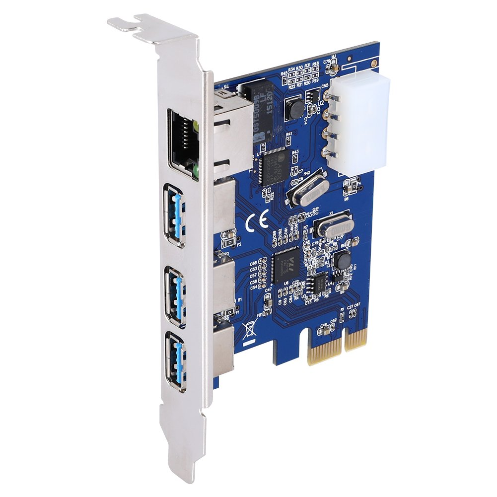 QNINE PCIe to USB 3.0 & Gigabit Ethernet Expansion Combo Card, PCI Express 3 Port USB 3.0 Card with 10/100/1000Mbps Network Controller RJ45 Lan Adapter for Desktop PC by QNINE (Image #2)
