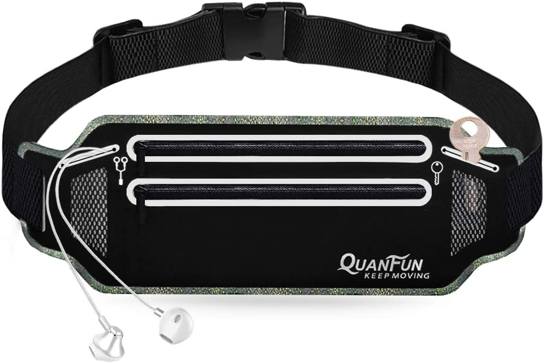 QUANFUN Slim Running Belt, Fanny Packs Waist Pack for Cell Phones,Running Pouch Cell Phone Holder with Two Zip Pockets for Women Men, Workout Gym Accessories Runner Belt Fits up to 6.5 Phones
