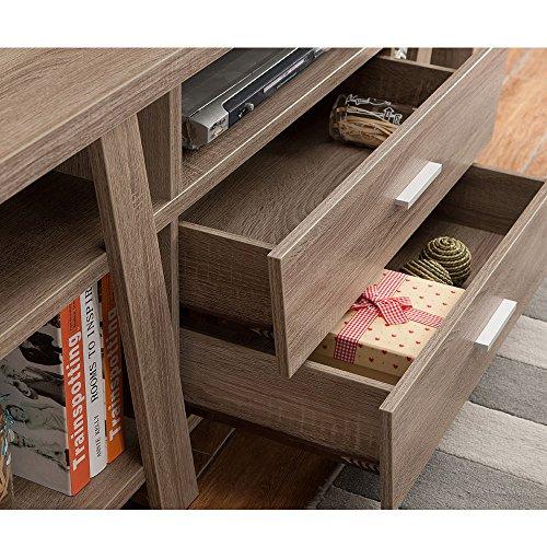 1PerfectChoice Furniture TV Stand Entertainment Center Console Table Unique Design Taupe Wood