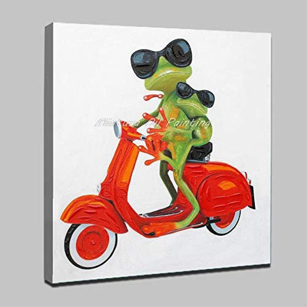 DYHDQ Pinturas Al Óleo sobre Lienzo Pintada A Mano Dibujos Animados Animales Rana Verde Hermanos Y Rojo Tranvía Pinturas Al Óleo sobre Lienzo Moderno Abstracto Pared Arte Cuadros 90×90 Cm