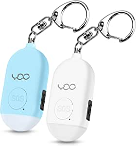 YDO Safe Personal Alarm, 130db Personal Safety Alarm Siren Song for Women Keychain with USB Rechargeable, LED Flashlight, Emergency Self Defense Safe Sound for Kids & Elderly 2 Pack (White&Blue)