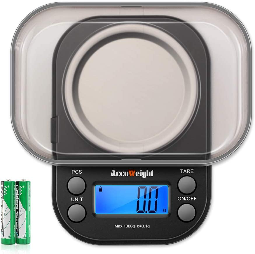 AccuWeight Mini Pocket Gram Scale for Jewelry Digital Food Kitchen Scale 1000 by 0.1g with Tare and Calibration Weight Scale