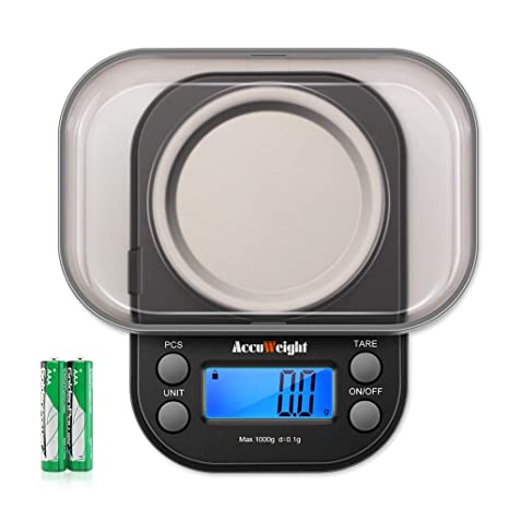 Accuweight Mini Pocket Gram Scale For Jewelry Digital Food Kitchen Scale 1000 By 0 1g With Tare And Calibration Weight Scale