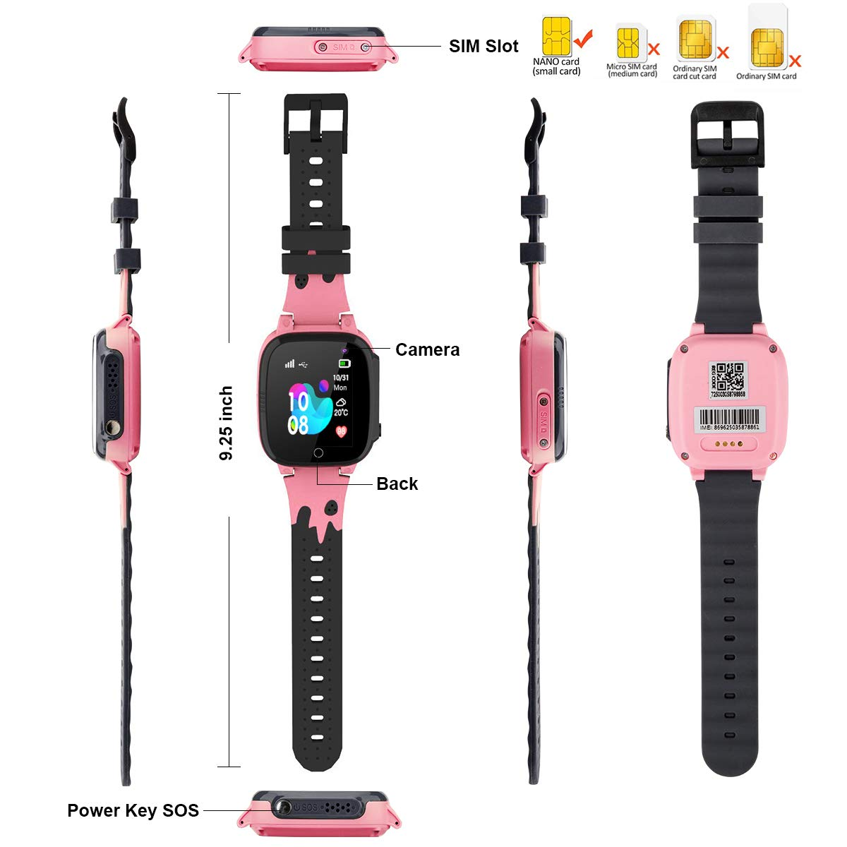 Kids Smart Watch Phone Waterproof with GPS Tracker SOS Anti-Lost Watch Touch Screen Camera Smart Watch for 3-12 Years Old Boys Girls (Pink) by SUNNY1 (Image #7)