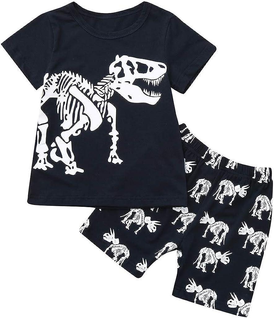 LOPILY Conjunto A Domicilio De Verano para NiñO con Estampado De Dinosaurios De Manga Corta Pantalones NiñOs 2pcs Traje