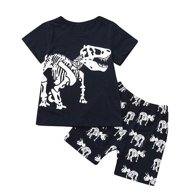 156d61b984 Counjunto de Ropa Bebé Niño Verano 2pc Pijamas de Dormir Estampado de  Dinosaurio el Verano Tops
