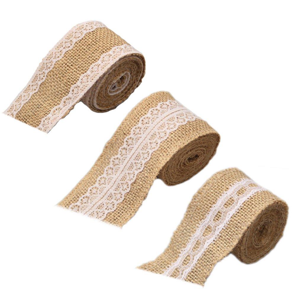3 Rollo de Cinta Encaje - Vintage arpillera cordón cinta rollos ...
