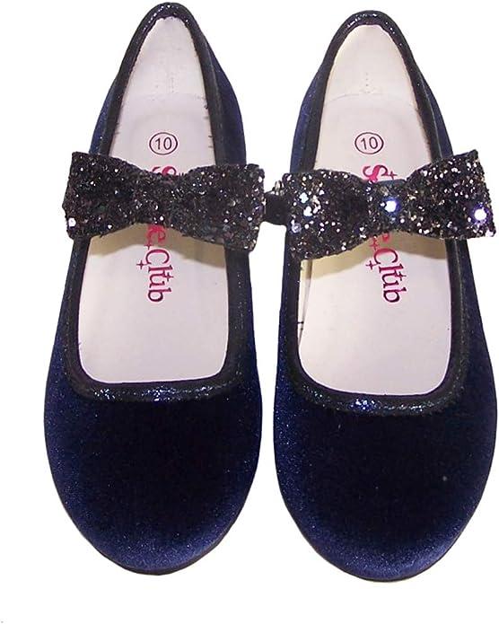 Filles Enfants Bleu foncé en velours et paillettes Ballerine Fête Chaussures Occasion Flower Girl