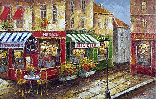 French Restaurant Bistro Cafe Bar Paris Oil Painting
