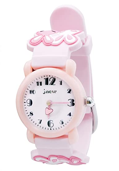 JNEW - Cute Watch Watchband for Girls Reloj para Niñas Dibujo Divertido 3D Estilo Dulce Lindo Reloj de Pulsera Infantil Aprender la Hora - 3-10 Años - Rosa ...