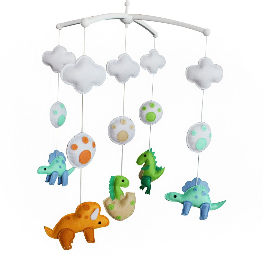 Baby Crib Bell, Handmade Musical Mobile, Baby Gift, Colorful Decor [Dinosaur]