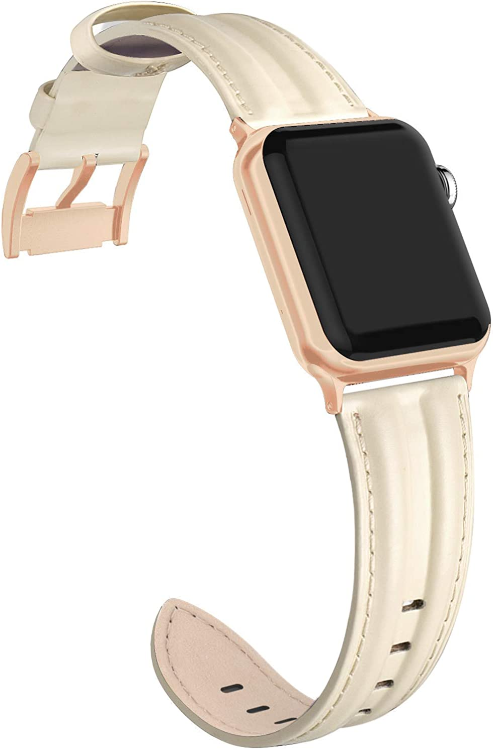 SWEES Leather Band Compatible with iWatch 38mm 40mm, Genuine Leather Shiny Bling Strap Compatible iWatch Series 5 Series 4 Series 3 Series 2 Series 1, Sports & Edition Women,Rose Gold, Black