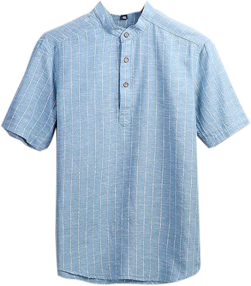 Camiseta de Manga Corta para Hombre Camisa de Rayas de Lino con Cuello en Abanico Casual Lisa: Amazon.es: Ropa y accesorios