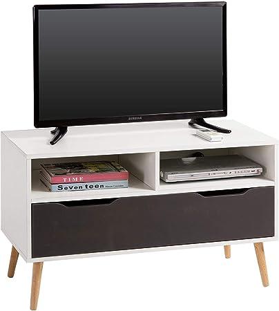 Idimex Meuble Tv Genova Banc Tele De 90 Cm Au Style Scandinave Design Vintage Avec 1 Grand Tiroir Et 2 Niches Decor Blanc Mat Et Gris Anthracite