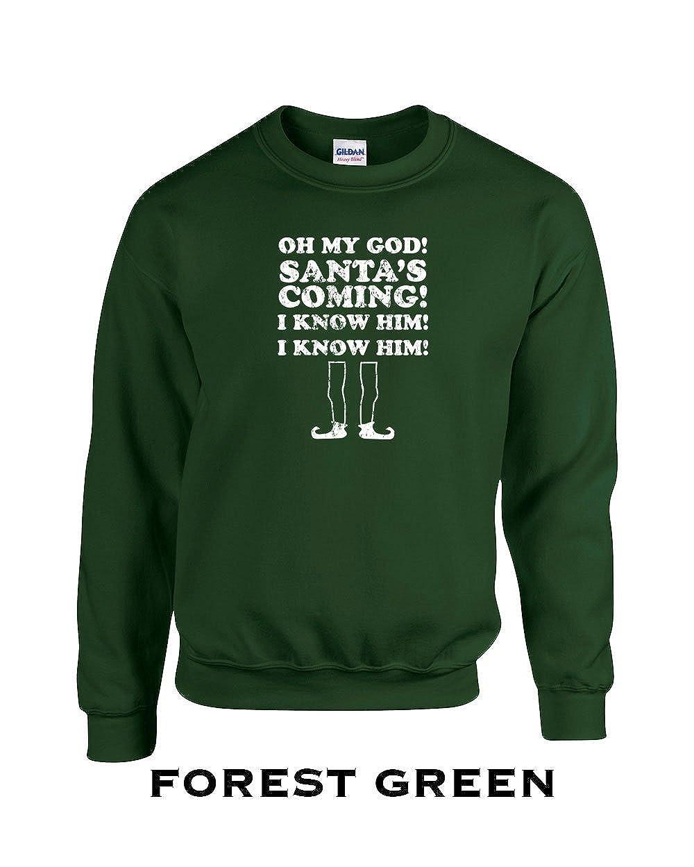 367 Santa is Coming I know Him Funny Adult Crew Sweatshirt
