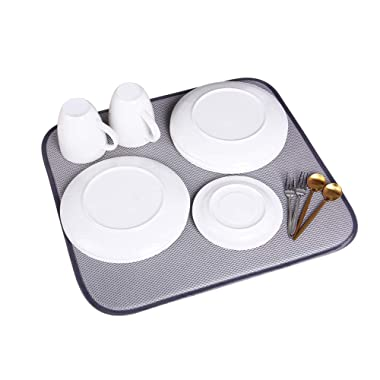 Jovilife 3Pack Dish Drying Mats Kitchen Mat(Set of 3) Microfiber dish mat,Absorbent Washable, 1618 Inch, Black by (grey)