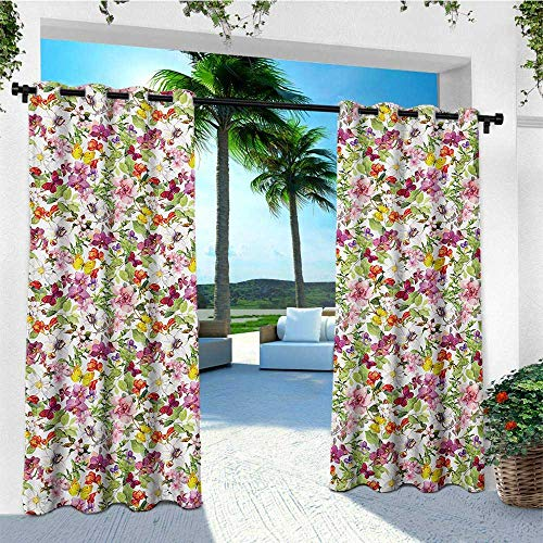 leinuoyi Flower, Outdoor Curtain Wall, French Vintage Retro Flower Pattern Stylish Old Fashion Design, for Patio Furniture W84 x L96 Inch Coral Pale Coffee Reseda Green (French Furniture Atlanta)
