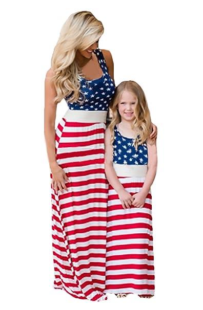 Vestido De La Familia Mamá Ropa De Bebé Verano Elegantes Casual Sin Mangas Cuello Redondo Estrellas