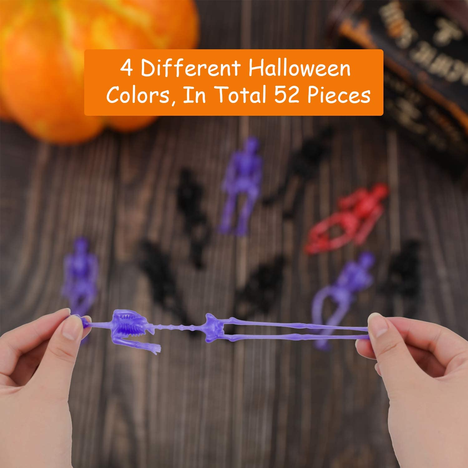 Pinata Filler Goodie Bags 52 Pieces Stretchy Toys Halloween Spring Skeleton Stretchy Toys Kit for Halloween Trick or Treat Fillings Small Toys Classroom Prizes Halloween Supplies