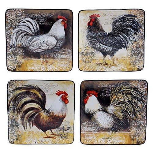 Rooster Dessert - Certified International 57476SET/4 Vintage Rooster Salad/Dessert Plates (Set of 4), 8.25