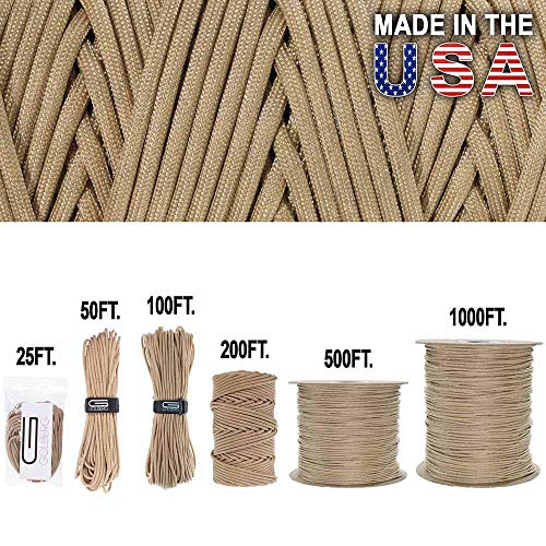 GOLBERG 750lb Paracord / Parachute Cord - US Military Grade - Authentic Mil-Spec Type IV 750 lb Tensile Strength Strong Paracord - Mil-C-5040-H - 100% Nylon - Made in USA (Gears Of War 4 Best Weapons)