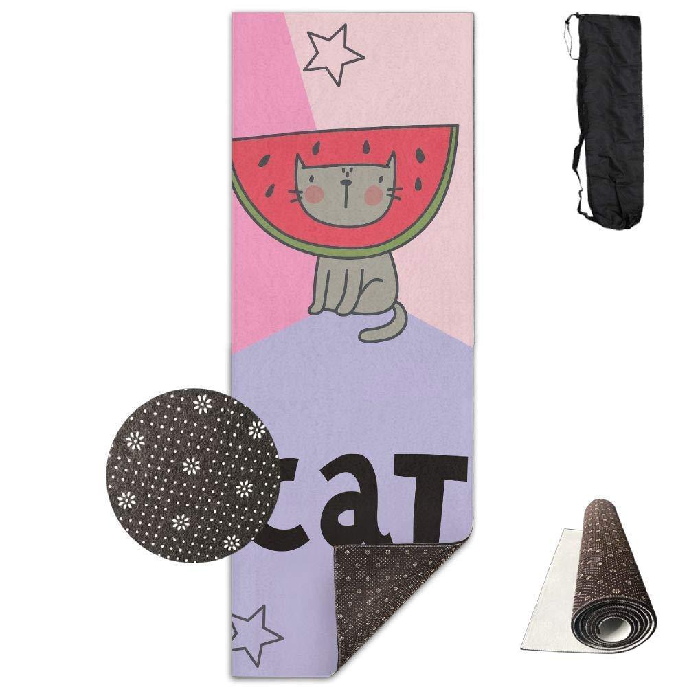 Vercxy Cactus Avocado Fish Cat Yoga Mat – Advanced Yoga Mat – Fodera Antiscivolo – Facile da Pulire – Senza Lattice – Leggero e Resistente – Lunghezza 180 cm Larghezza 61 cm