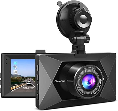 Crosstour Dash Cam 1080P FHD Mini in Car Dashboard Camera with Park Mode, G Sensor, F1.8 Super Big Aperture, 3 Inch LCD, 170 Wide Angle, WDR, Motion Detection, Loop Recording CR350