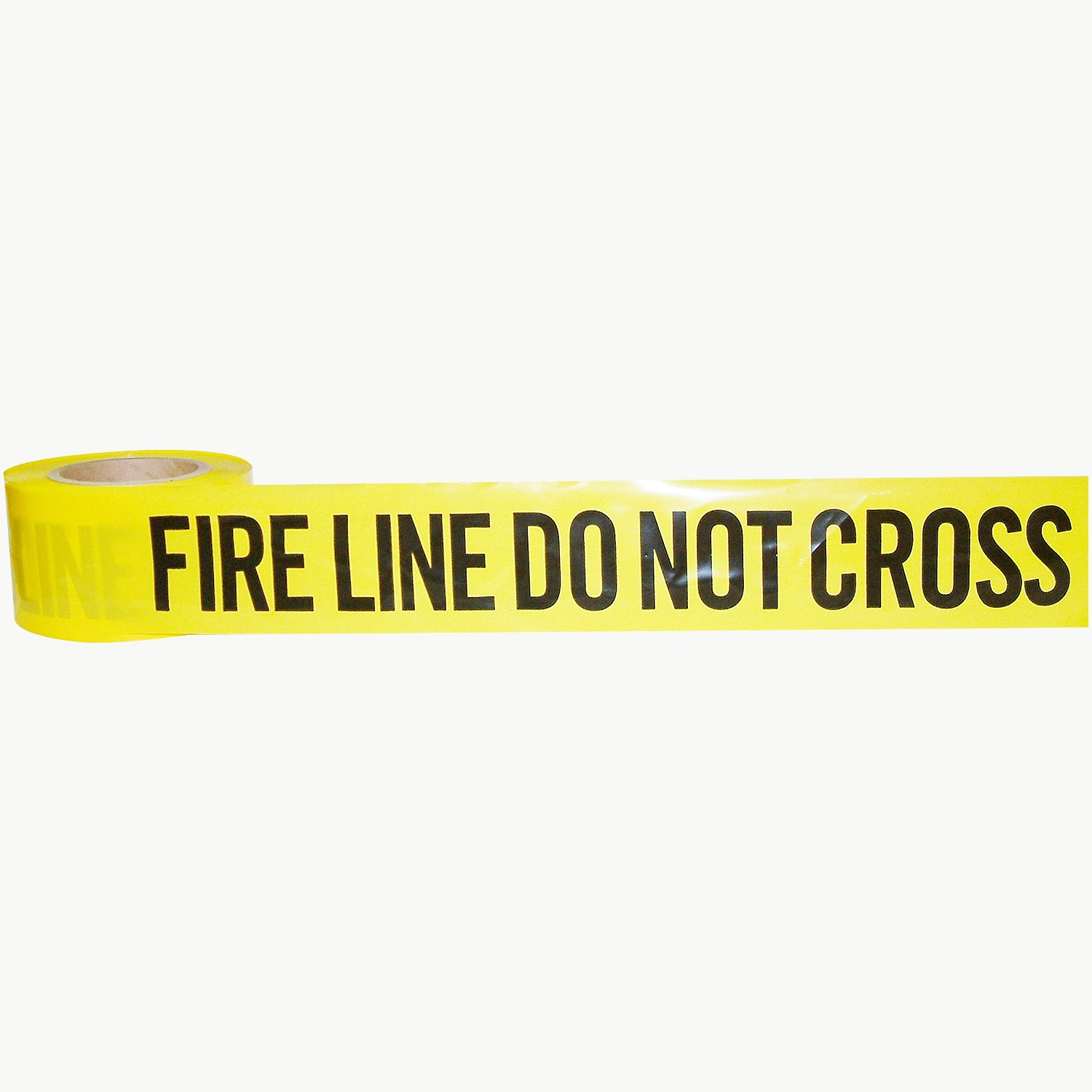 JVCC BR-1 Barricade Tape: 3 in. x 1000 ft. (Yellow with Black ''FIRE LINE DO NOT CROSS'' printing) by J.V. Converting