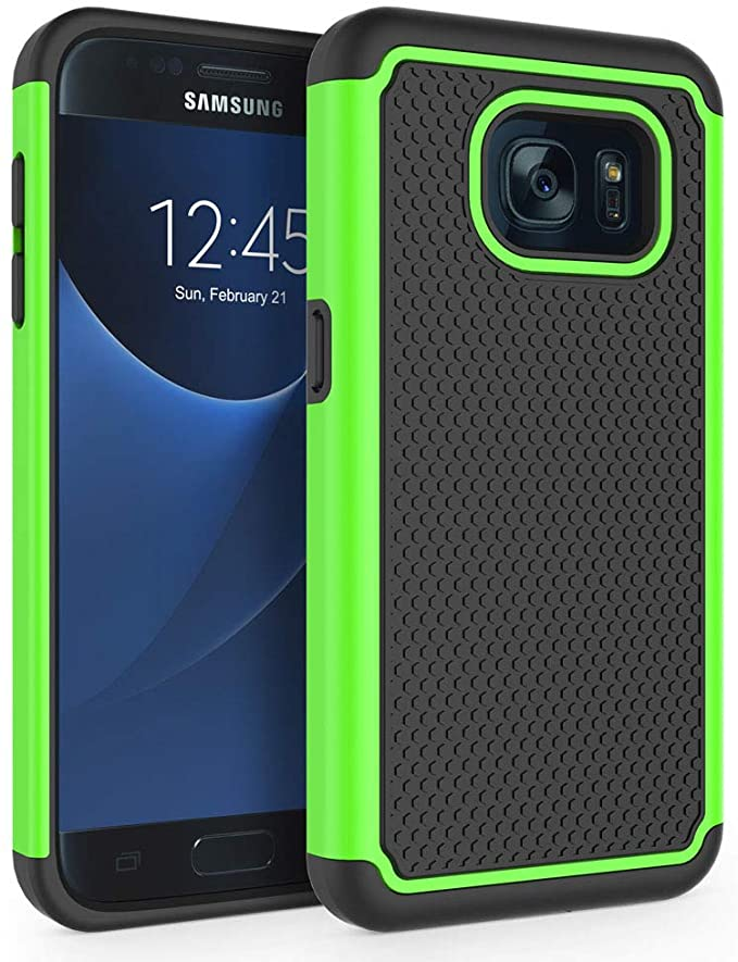 """Amazon.com: Galaxy S7 Case, SYONER [Shockproof] Defender Protective Phone Case Cover for Samsung Galaxy S7 (5.1"""", 2016) [Green]"""