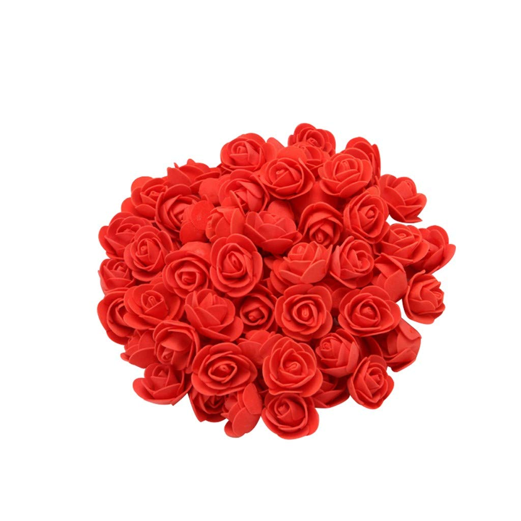CapsA 100PCS Foam Red Rose for Valentine's Day Wedding Birthday Party Artificial Flowers for Home Party Decorations Idea Gifts for Her Mother Gilrfriends