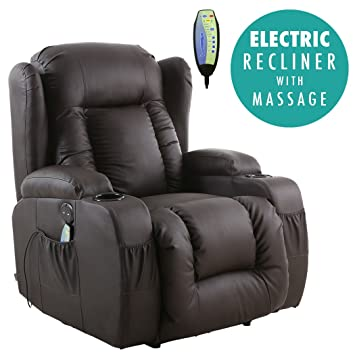 more4homes tm caesar electric auto recliner massage heated gaming