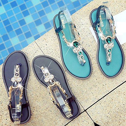 Edelsteine Ferse Toe Frauen 5 Sommer CN37 Sommer Strass Niedrige UK4 EU37 Optionale Grün Slipper Schwarz Clip XIAOLIN Sandalen Flache Größe Damen Knöchelriemen 5 Größe Farbe PIqxX