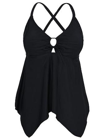 9f5428a3e9838 Hilor Women's V Neck Swim Tops Flowy Handkerchief Tankini Top Black 12