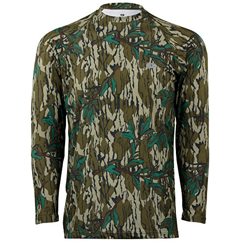 Mossy Oak Men's Camo Long Sleeve Performance Tech Tee Hunting Shirt, Greenleaf, Large