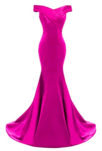 Yinyyinhs Women's Evening Dress Off Shoulder Ruffles Mermaid Formal Prom Gowns