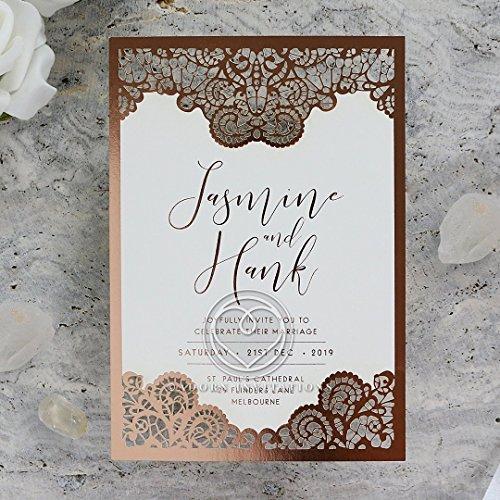 Wedding Invitations, Breathtaking Baroque Foil Laser Cut, Perfect for Weddings, Engagement, Bridal Shower Party by B Wedding Invitations, (GTF20001-KI-RG)