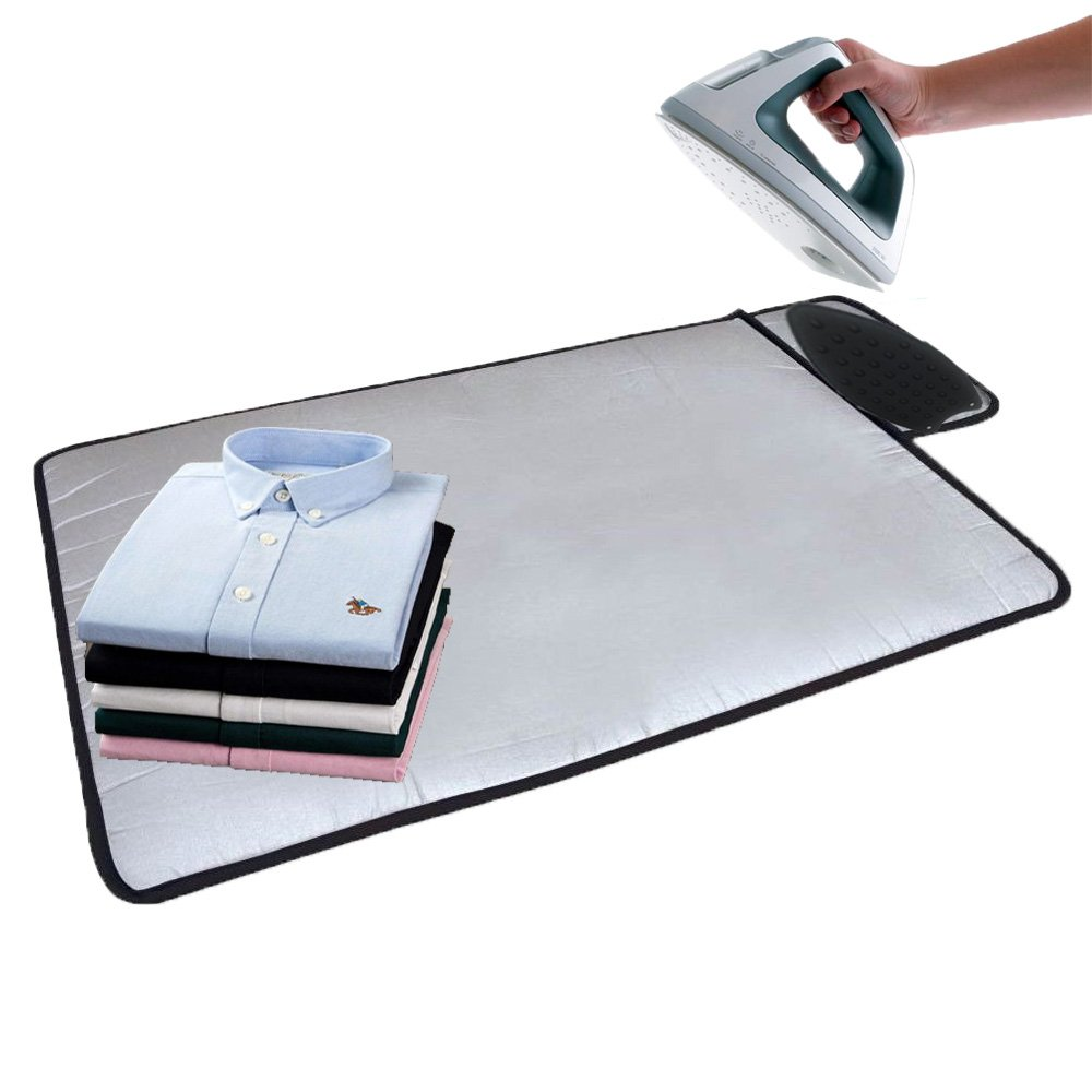 HOMILA Portable Ironing Mat with Silicone Pad,Ironing Blanket Heat Resistant Steaming Mat,19.5'' X 28'',Grey